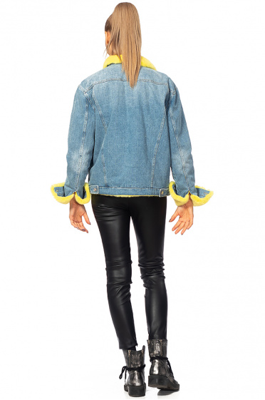 Ladies denim jacket with mink leather