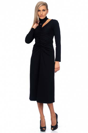 Ladies long dress with collar