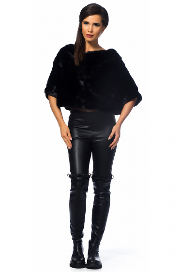 Ladies poncho from mink