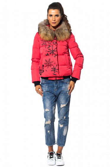 Ladies feather jacket with a thick fox hood
