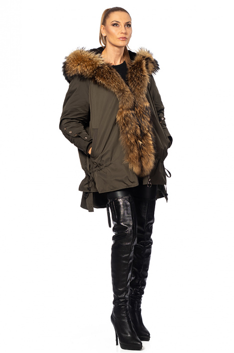 Ladies feather jacket with a fox hair
