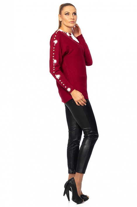 Ladies sweater with puffs and pearls