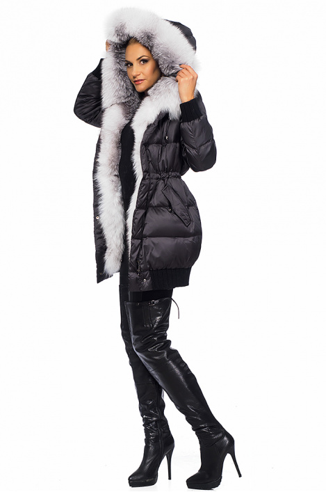 Ladies' feather jacket with fox