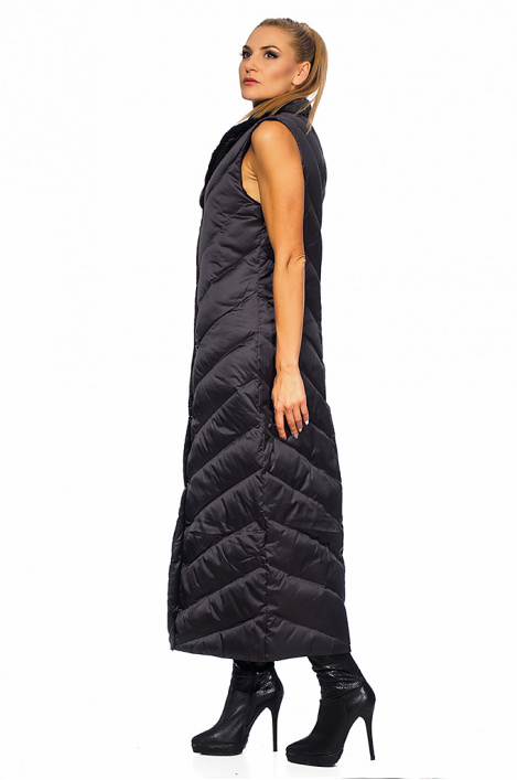 Women long vest with mink