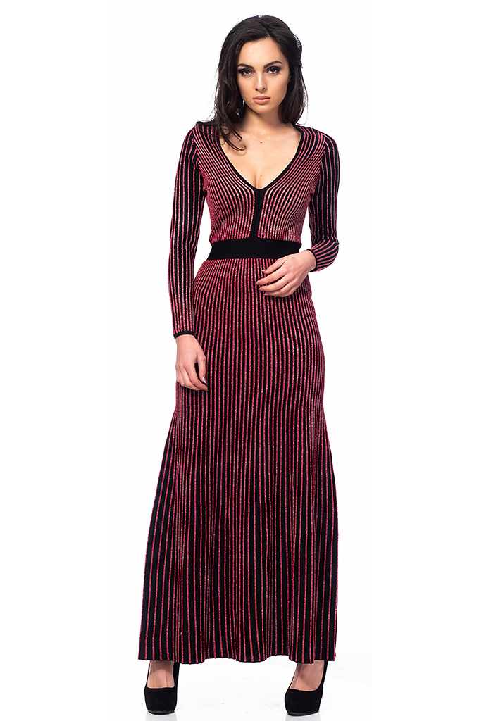 Ladies long dress pleated
