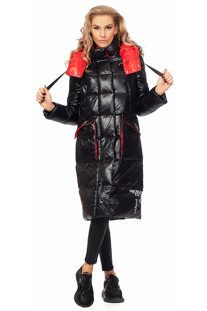 Ladies long jacket with hood