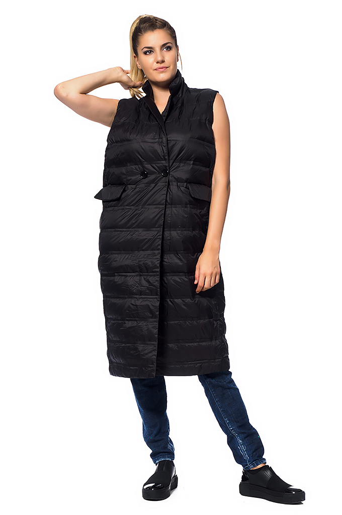Ladies Long Vest with Buttons
