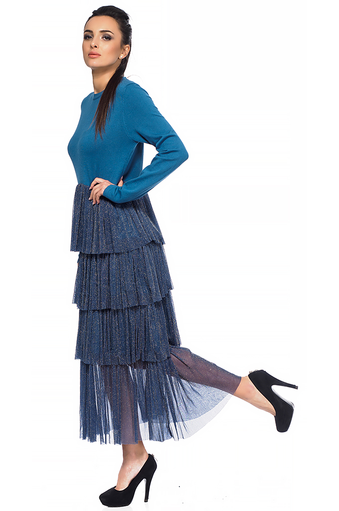 Ladies long dress with flounces
